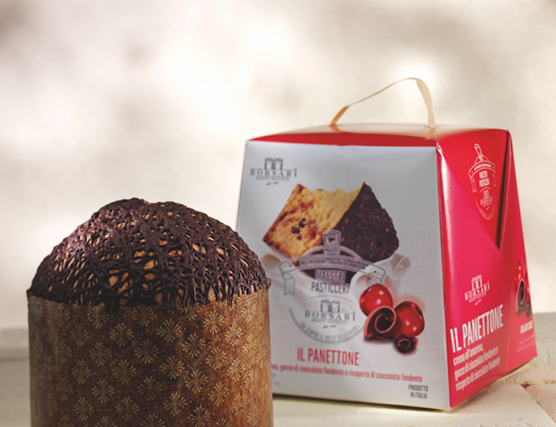 Panettone Crema Amarena gocce di cioccolato fondente e ricoperto di cioccolato fondente alto Natale borsari