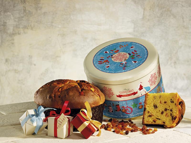 Panettone Classico basso in latta Azzurro Collection