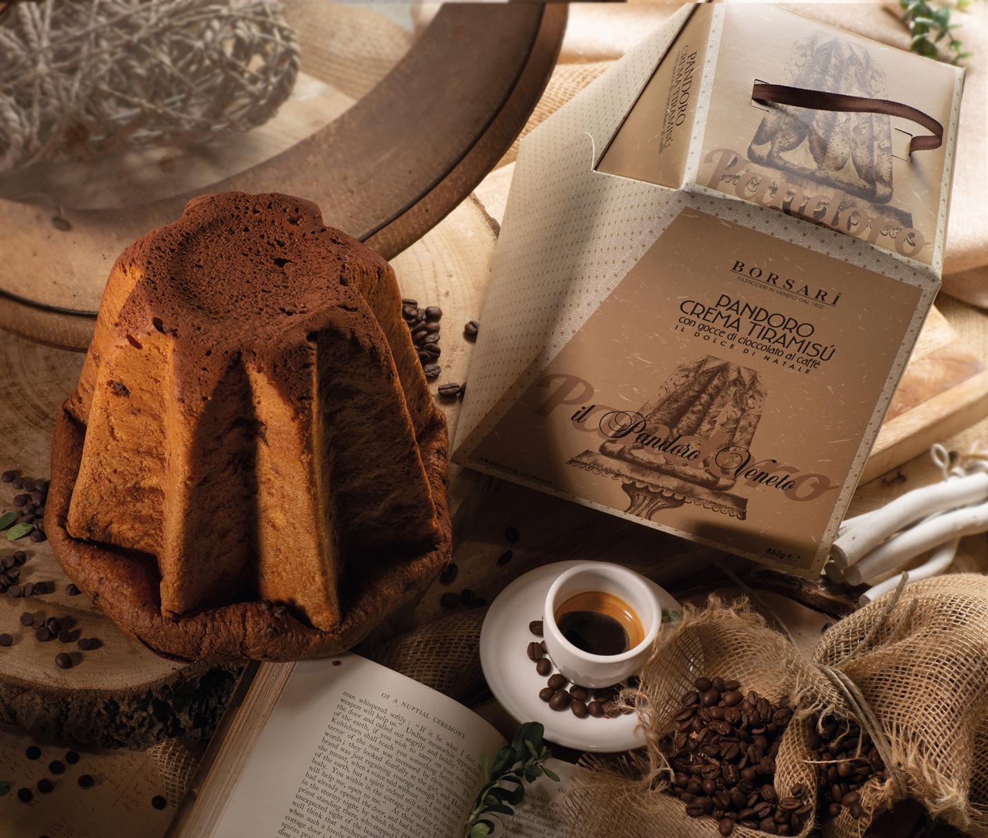 Pandoro Rustico Borsari Natale Astuccio Tiramisu Gocce cioccolato