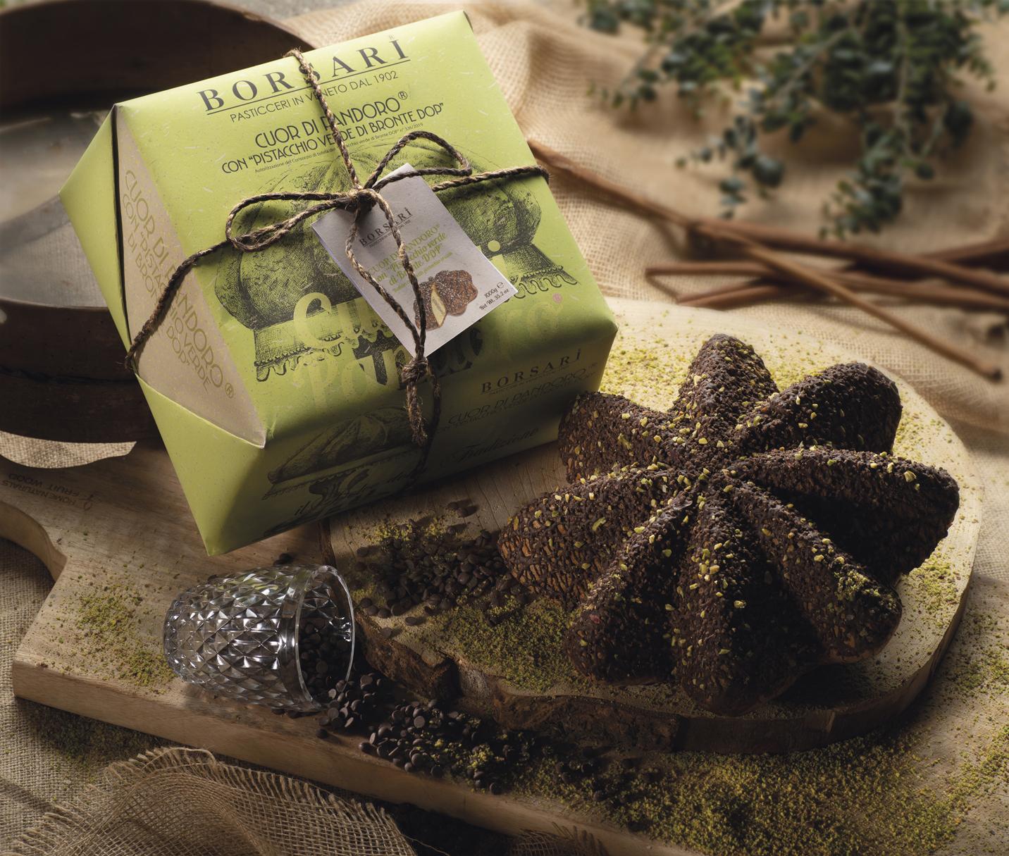 Cuor di pandoro pistacchio verde di bronte dop Borsari Maestri Pasticceri