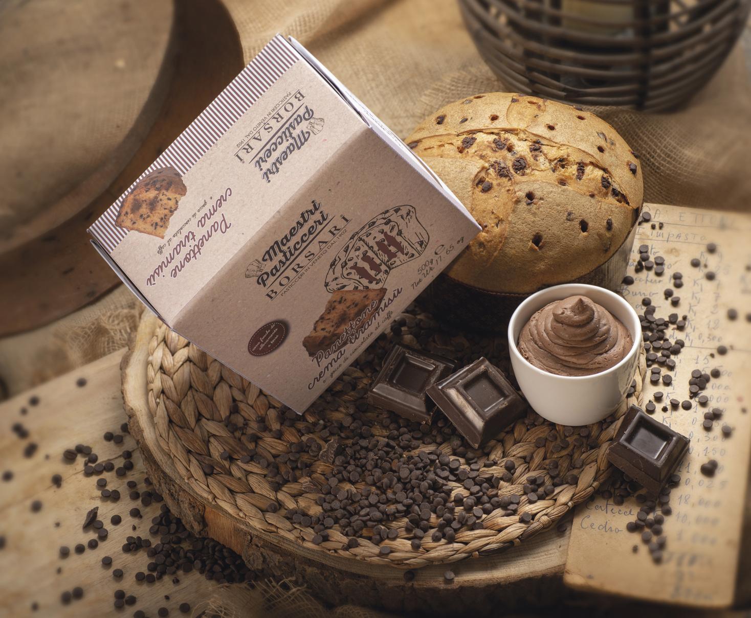 Panetone gocce cioccolato al caffe e crema tiramisu Borsari Maestri Pasticceri